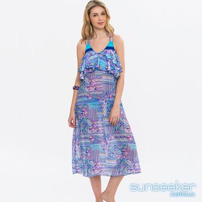 澳洲Sunseeker泳裝時尚藍紫幾何拼接網紗洋裝罩衫