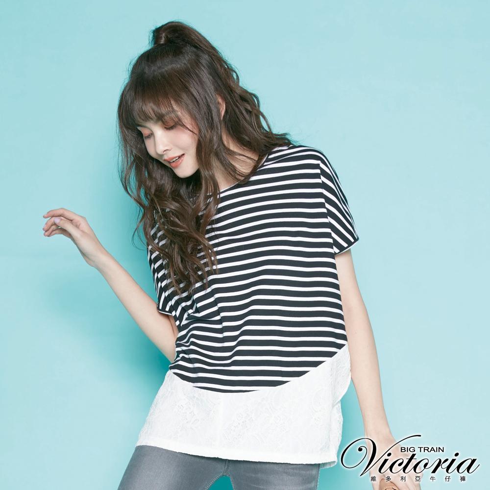Victoria 異材質拼接寬鬆短袖T-女-黑條紋