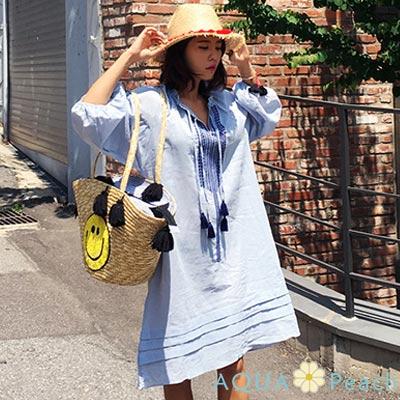 民族風繡花圖騰泡泡七分袖洋裝 (淺藍色)-AQUA Peach
