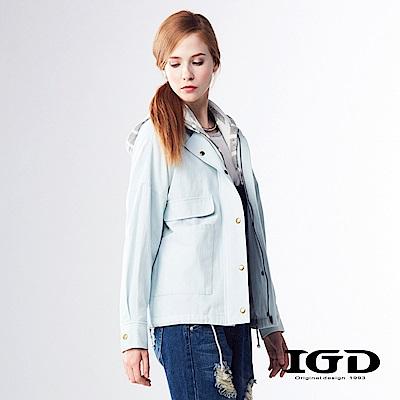 IGD英格麗 條紋連帽拼接軍裝外套-水藍