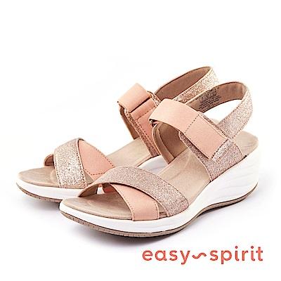 Easy Spirit--交叉帶魔鬼氈楔型涼鞋-粉膚閃金