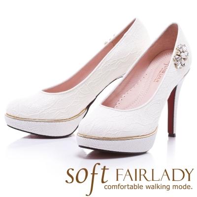 Fair Lady  Soft芯太軟 浪漫花嫁蕾絲水鑽跟鞋 白