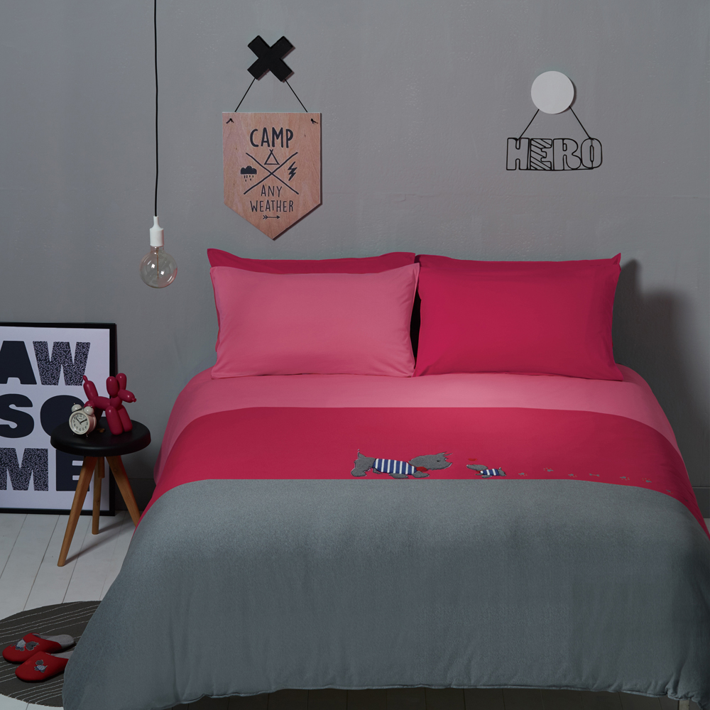 YVONNE COLLECTION狗狗雙人三件式被套+枕套組(6x7呎)-莓紅