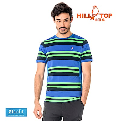 【hilltop山頂鳥】男款吸濕排汗抗UV彈性T恤S04MC0-明亮綠