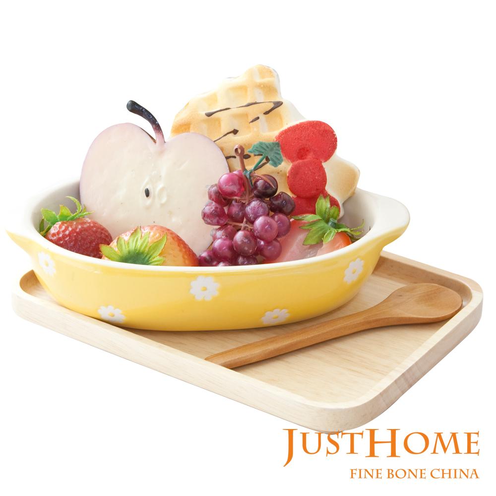 Just Home 可愛小花黃色橢圓陶瓷烤皿3件組(附台灣製托盤)