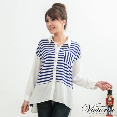 Victoria 條紋針織拼接雪紡襯衫-女-白色