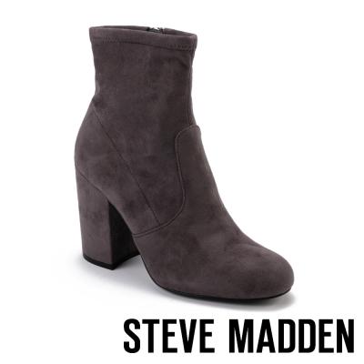 STEVE MADDEN-GAZE 拉鍊粗高跟短筒靴-絨灰色