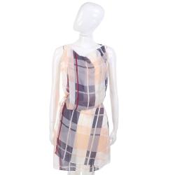 SEE BY CHLOE 米灰色格紋拼接側綁帶雪紡無袖洋裝(附內裡)