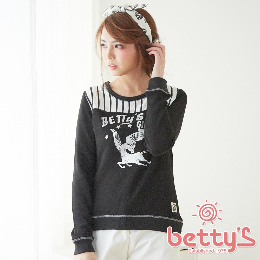 betty s貝蒂思飛馬圖案拼接羅紋T-shirt黑色