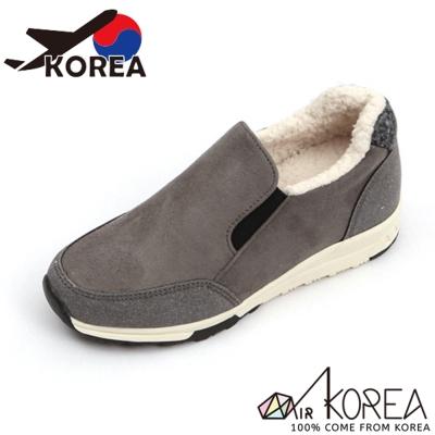 【AIRKOREA】正韓雙材質拼接內刷毛休閒懶人便鞋增高5公分-灰