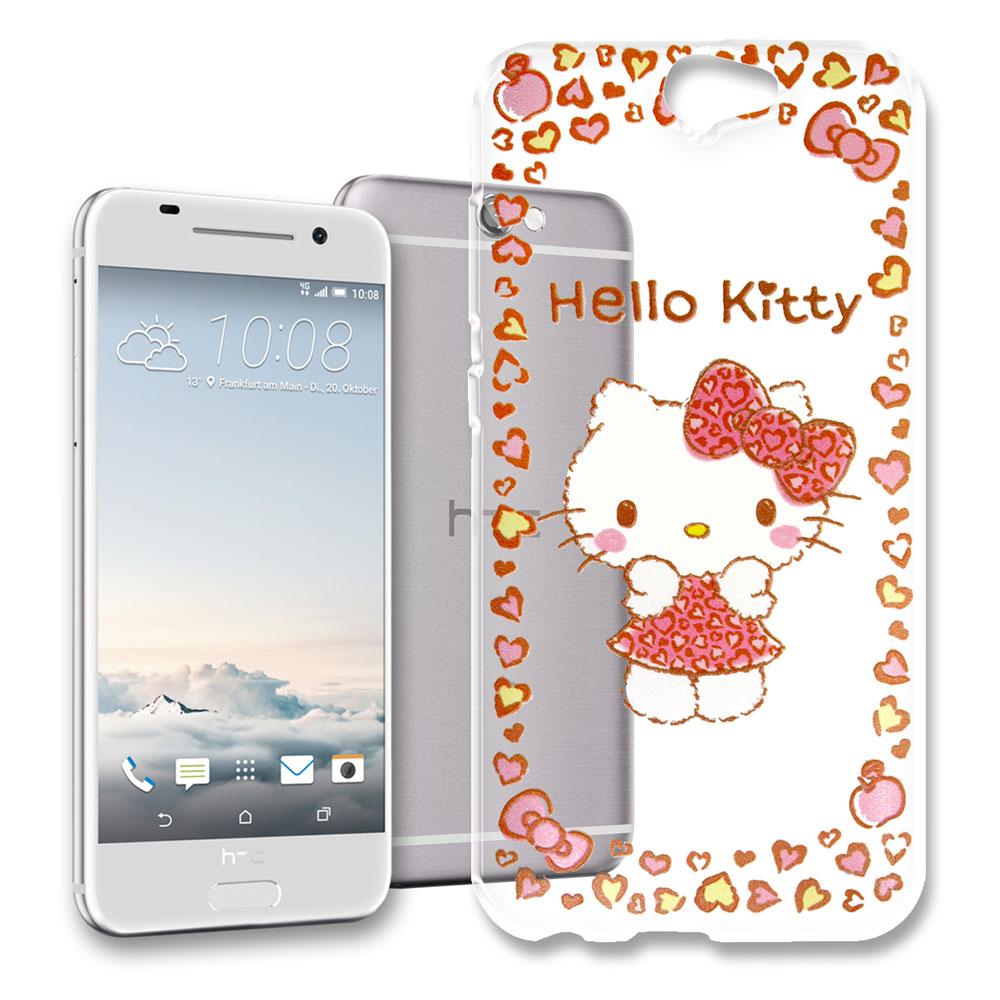 Hello Kitty HTC ONE A9 浮雕彩繪透明軟殼(甜心豹紋)