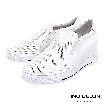 Tino Bellini 牛皮壓紋全真皮厚底休閒鞋_ 白