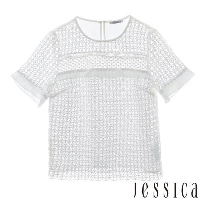 JESSICA-RED-Gladys-透膚幾何蕾絲拼接上衣-白