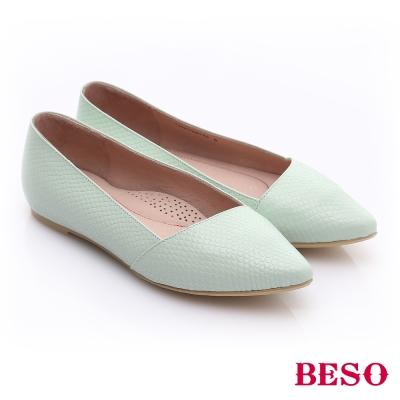 BESO-極簡風格-真皮斜口厚軟墊平底鞋-淺綠