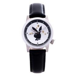 PLAYBOY 繽紛亮片時尚錶 黑色帶+銀框/35mm