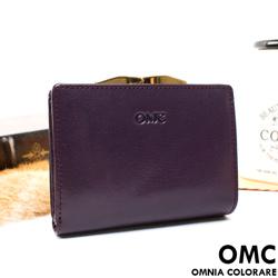 OMC - 原皮魅力真皮系列兩用零錢扣短夾-神秘紫