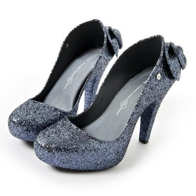 Melissa-閃亮美形後跟高跟鞋-銀