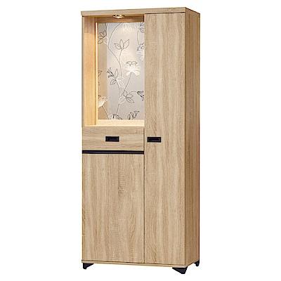 品家居 蜜莉雅2.6尺橡木紋雙面多功能屏風櫃/玄關櫃-79x39.7x189cm免組
