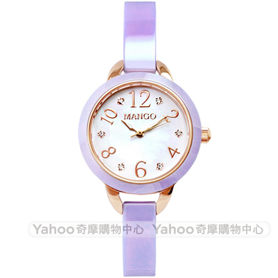 MANGO 優雅晶鑽珍珠貝陶瓷手錶-紫x玫瑰金/25mm