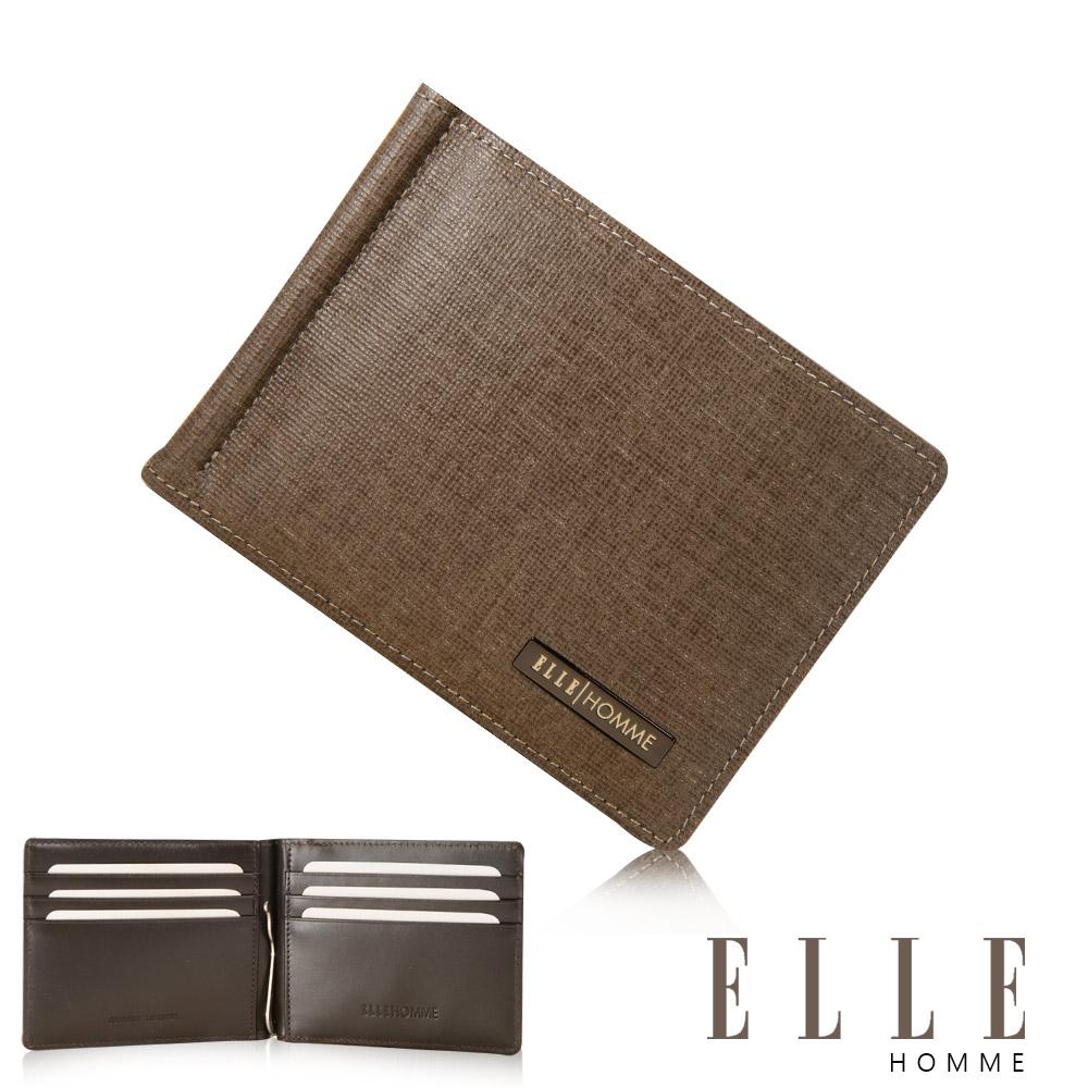 ELLE HOMME 鑽石紋輕巧型6卡鈔票夾設計證件夾- 咖啡色