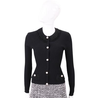 BOUTIQUE MOSCHINO 黑色珍珠釦流蘇領針織小外套