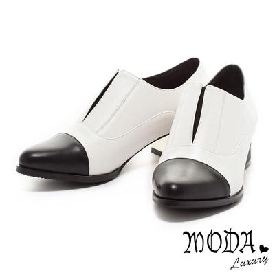 MODA Luxury時尚魅力美型拼接金屬粗跟鞋-白