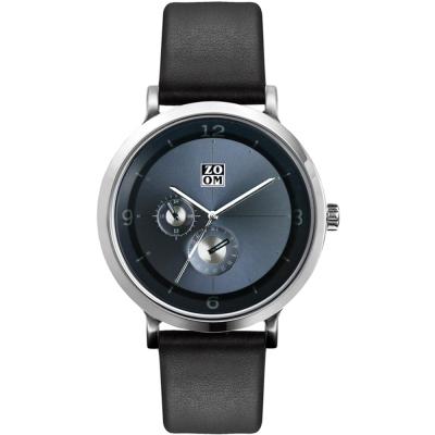 ZOOM -Comma時光停留概念雙眼多功能設計錶-湖水藍/ 43 . 5 mm