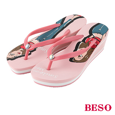 BESO 現代簡約 BESO girl單鑽人字拖~粉紅