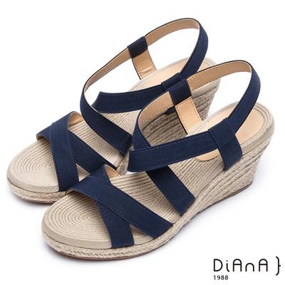DIANA 夏日風情--進口鬆緊帶雙交錯楔型涼鞋–藍