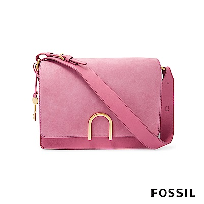 FOSSIL FINLEY 芬利雙格層麂皮柔軟真皮包-草莓牛奶