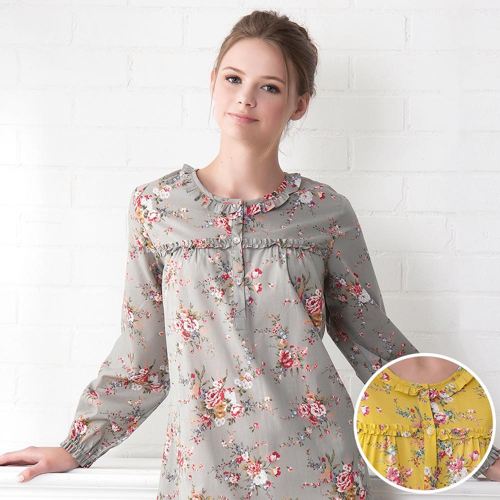 羅絲美睡衣 - 繽紛盛宴長袖洋裝睡衣(繽紛黃)