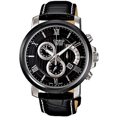 CASIO BESIDE 競速品味計時賽車腕錶(黑)_BEM-507BL-1A/43mm