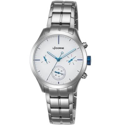 LICORNE 都會星空三眼女錶 -白x藍/36mm