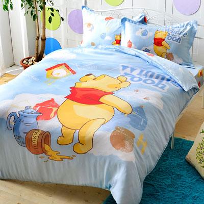 Saint Rose 維尼熊 雙人100%純天絲兩用被套床包四件組