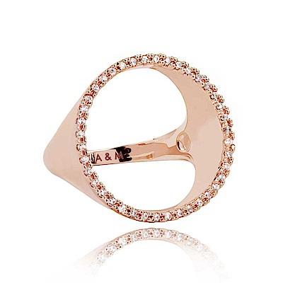 ASTRID&MIYU英國潮流品牌 裸空水鑽圓形戒指 玫瑰金