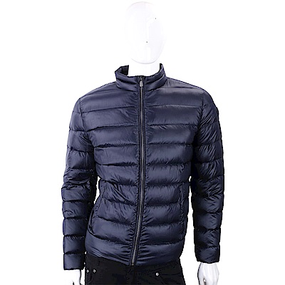 TRUSSARDI 經典皮革標深藍色絎縫拉鍊輕羽絨夾克