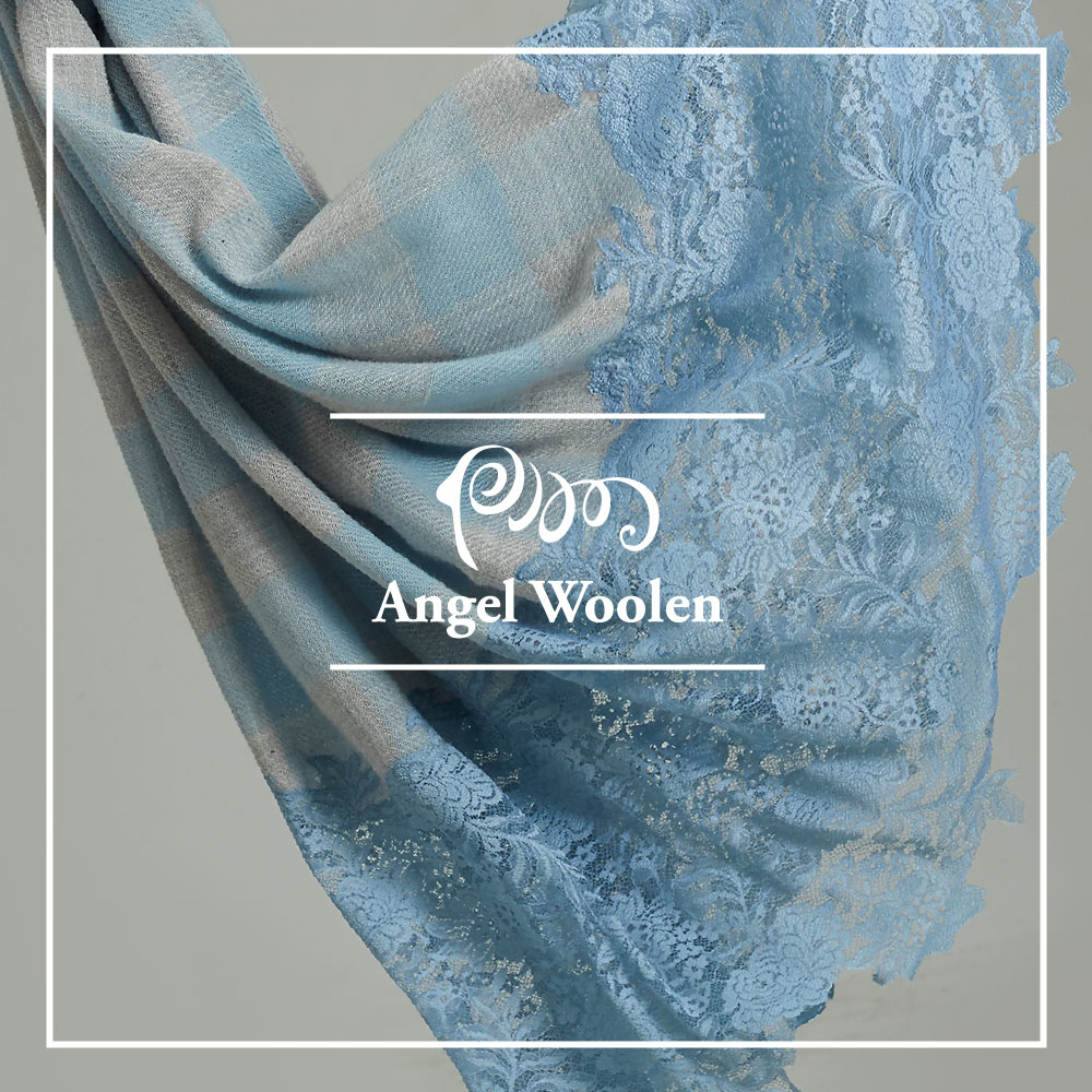 Angel Woolen 印度Pashmina手工羊絨蕾絲披肩圍巾(格情雅韻-共三色)