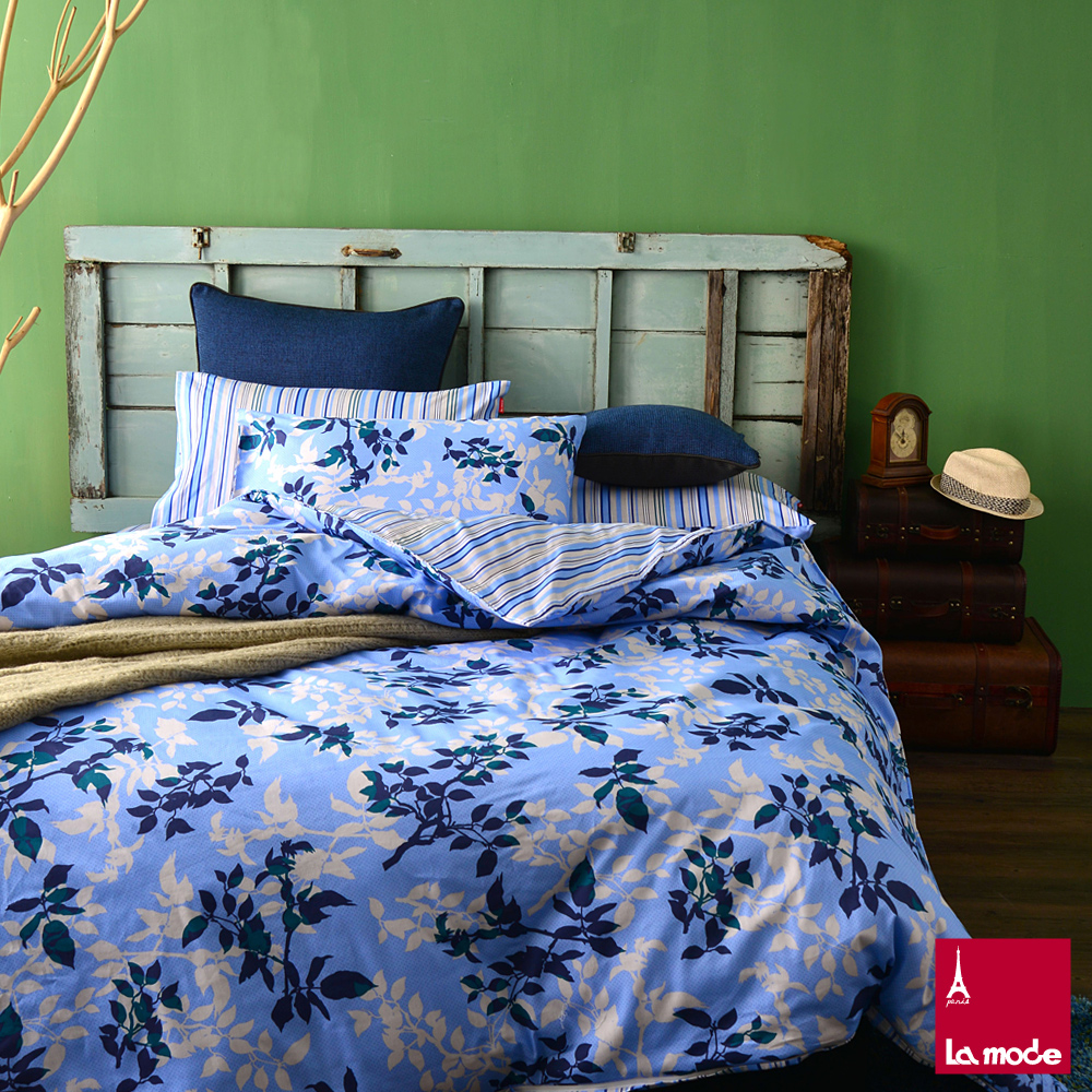 La Mode寢飾☆巴黎情人☆100%精梳棉-兩用被床包組(加大)