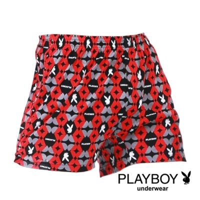 PLAYBOY MIT製LOGO印花精梳棉四角褲-單件(紅剖圓)