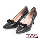 TAS 蝴蝶結小鏤空拼接尖頭高跟鞋-成熟黑