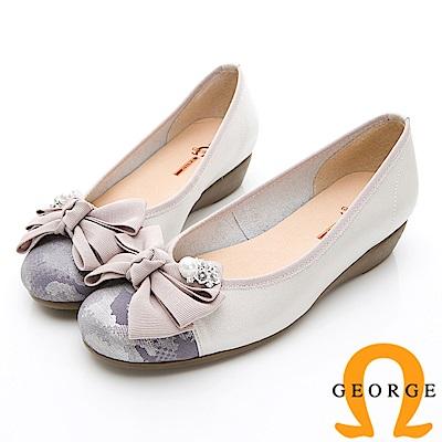 GEORGE 喬治-輕量系列 花漾蝴蝶結淑女鞋-灰