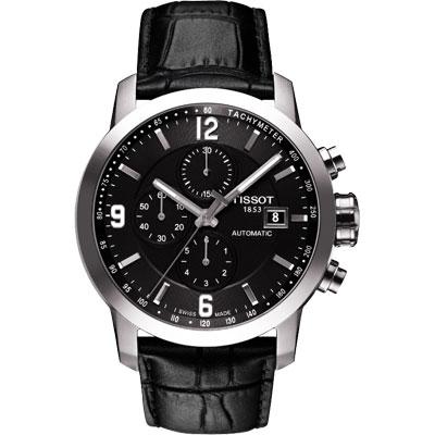 TISSOT T-Sport PRC200競速三眼計時機械皮帶腕錶-黑43mm