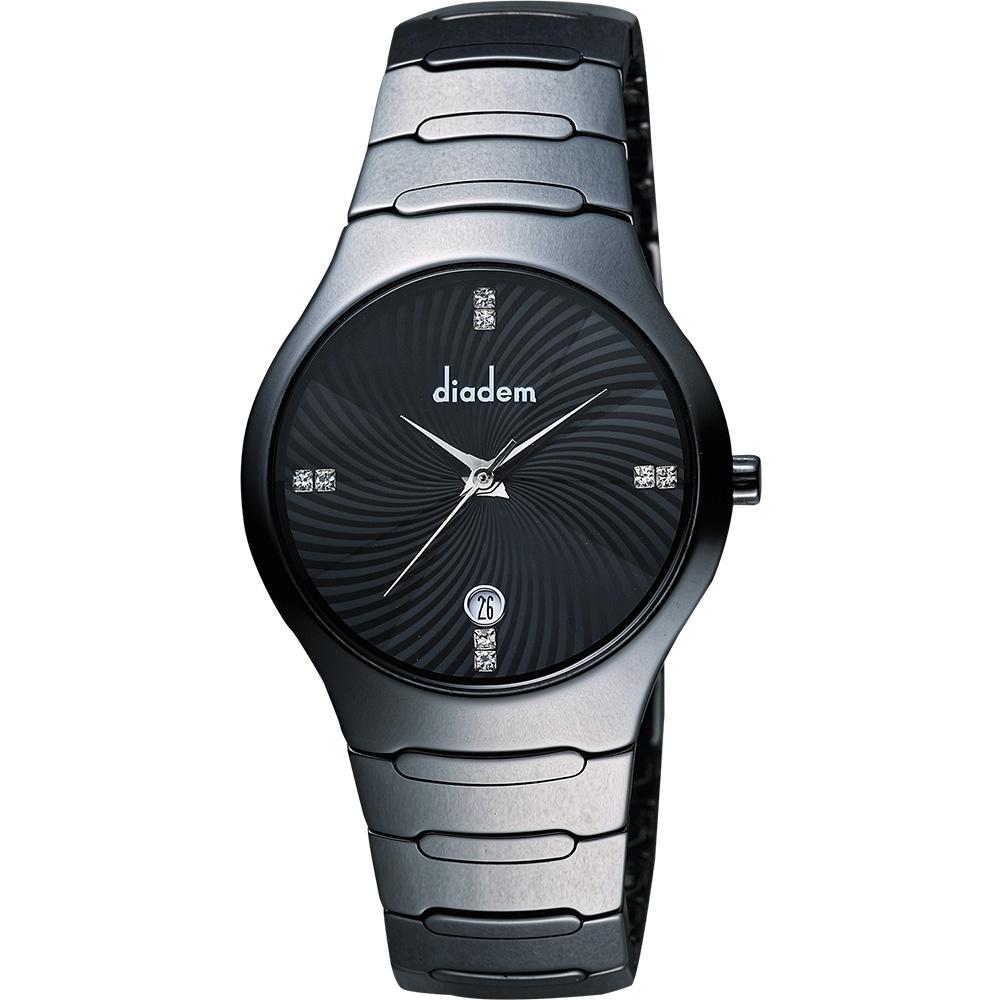 Diadem 黛亞登 雅緻晶鑽陶瓷腕錶-黑/36mm