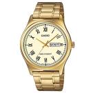 CASIO 經典復古金時尚簡約羅馬星期日曆指針錶-黃面(MTP-V006G-9B)/40m