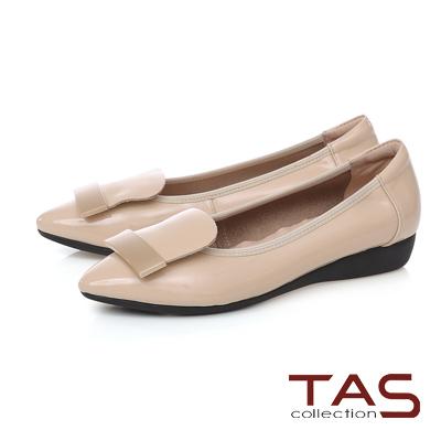 TAS 金屬一字造型尖頭娃娃鞋-輕感膚
