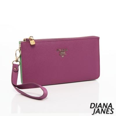 Diana-Janes-牛皮十字紋手挽女夾-紫