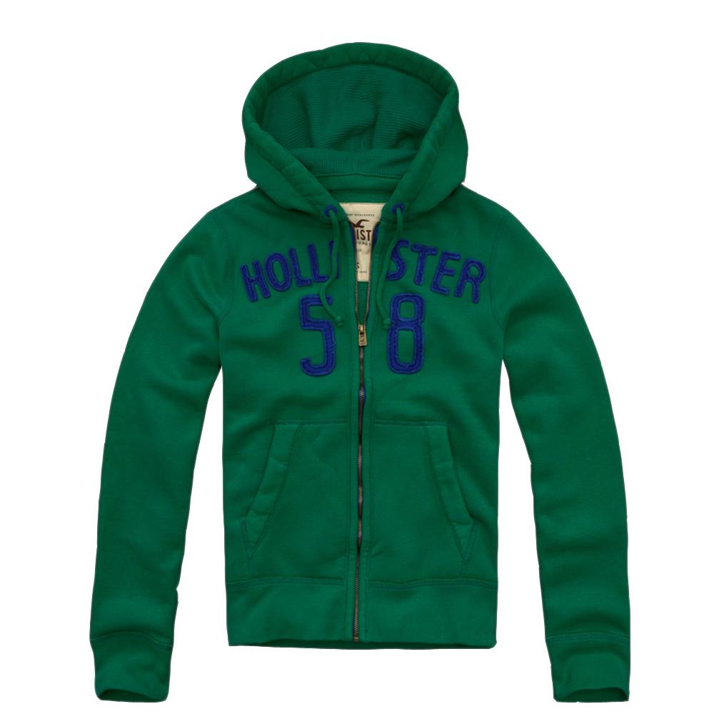 HOLLISTER Co. 男裝 現貨 經典數字連帽外套(綠)