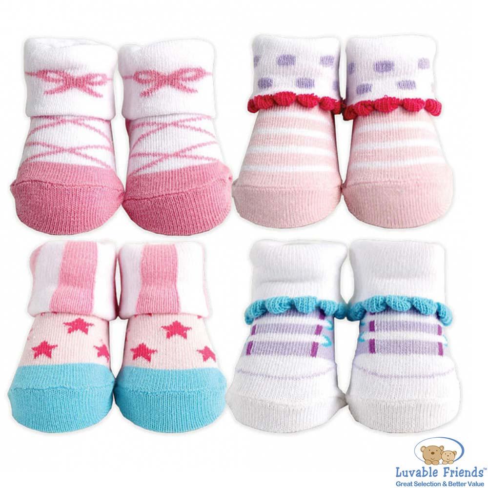 Luvable Friends 淺粉紫蝶結星星造型嬰兒襪4入組
