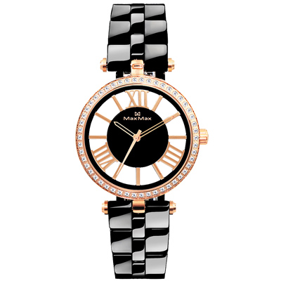 Max Max 迷濛月光時尚陶瓷腕錶-玫瑰金框黑/34mm