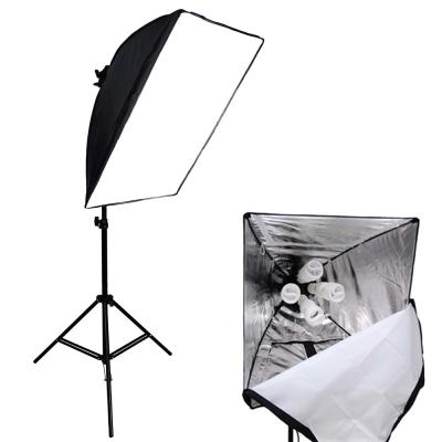 快裝式柔光罩50x70柔光箱無影四聯攝影燈立燈組